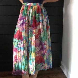 Vintage floral midi skirt sheer pink romantic 3X